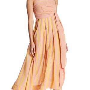 Free People Stripe Me Up Strapless Midi Dress ✨